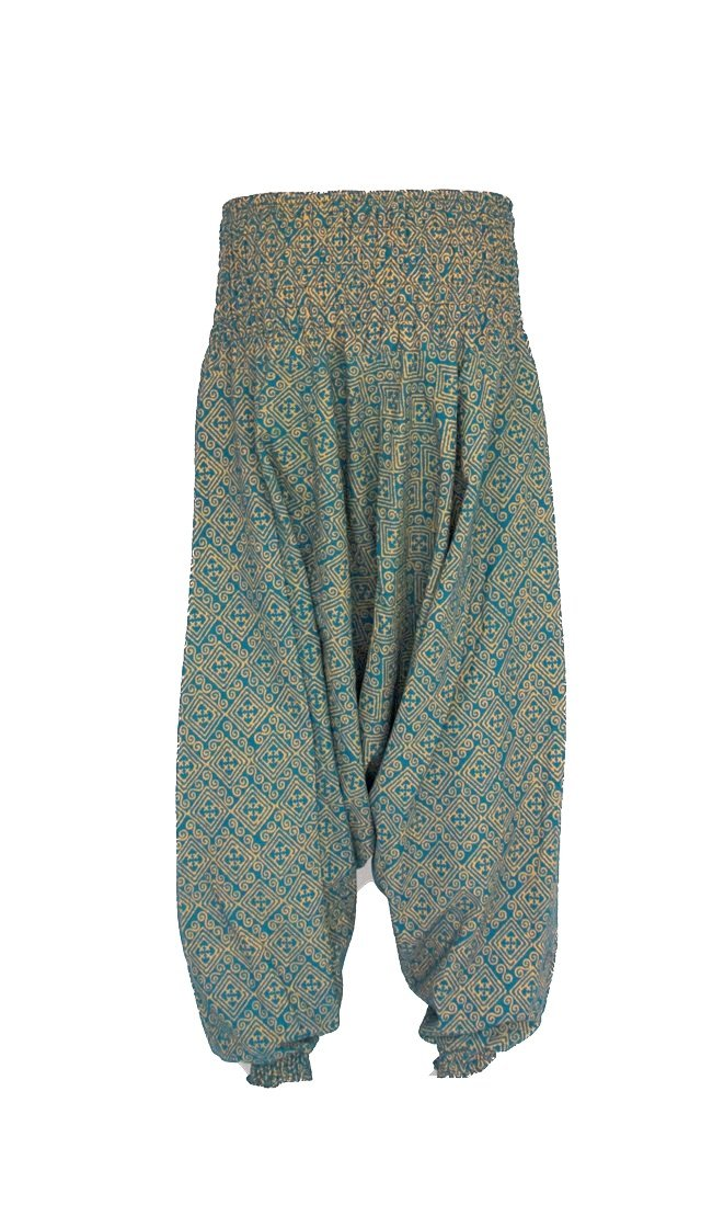 Women's Low Cut Harem Pants in Gold and Turquiose-The High Thai-The High Thai-Yoga Pants-Harem Pants-Hippie Clothing-San Diego