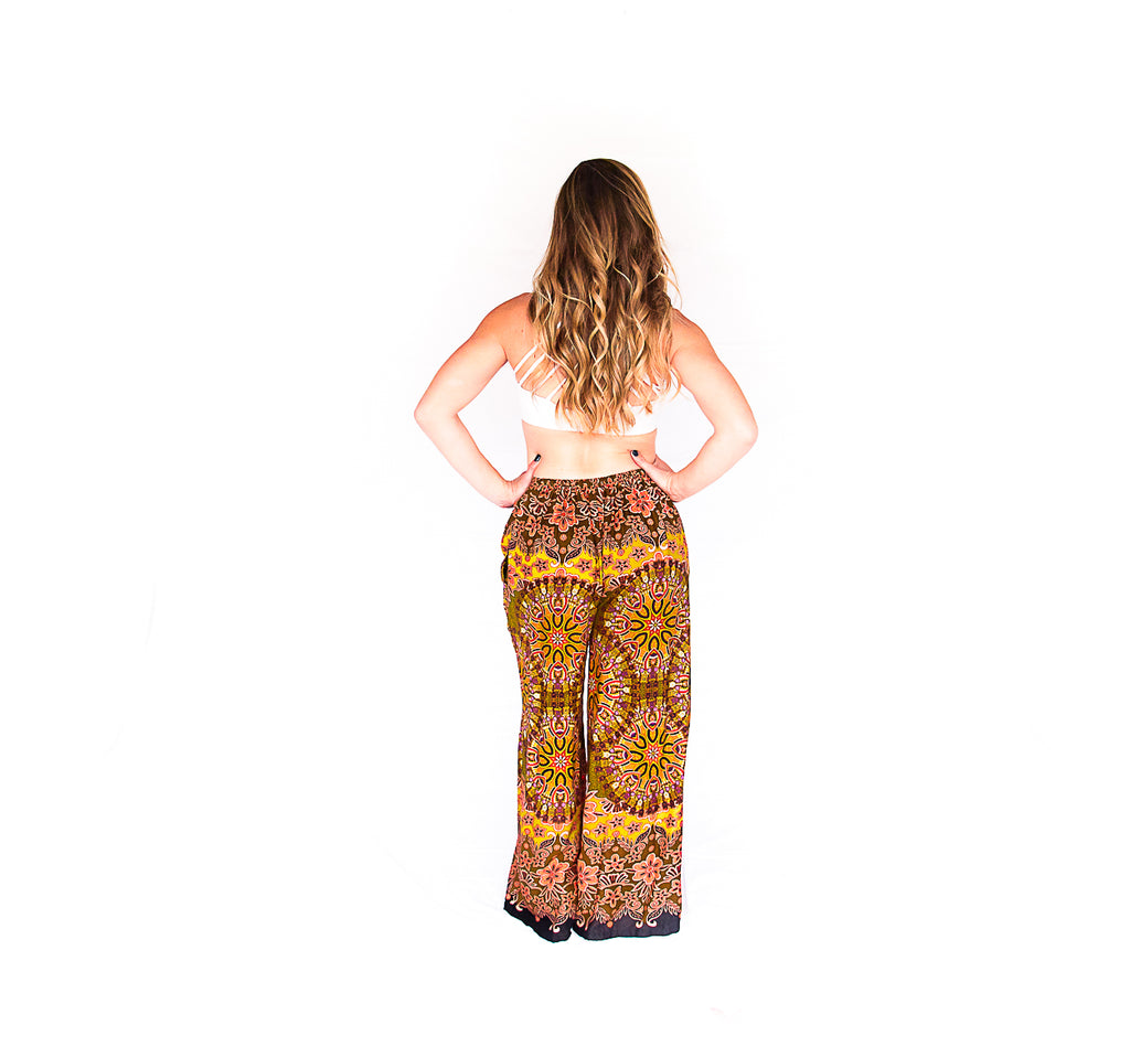 Palazzo Pants in Mandala Fall Burst-The High Thai-The High Thai-Yoga Pants-Harem Pants-Hippie Clothing-San Diego
