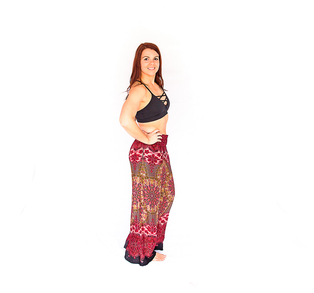 Palazzo Pants in Mandala Fire Burst-The High Thai-The High Thai-Yoga Pants-Harem Pants-Hippie Clothing-San Diego