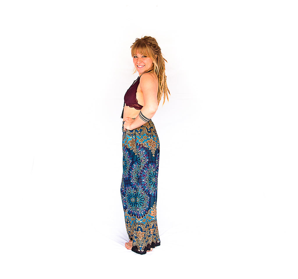 Palazzo Pants in Mandala Ocean Burst-The High Thai-The High Thai-Yoga Pants-Harem Pants-Hippie Clothing-San Diego
