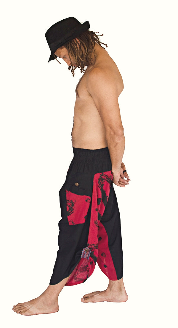 Samurai Elastic Shorts in Fire Red-The High Thai-The High Thai-Yoga Pants-Harem Pants-Hippie Clothing-San Diego