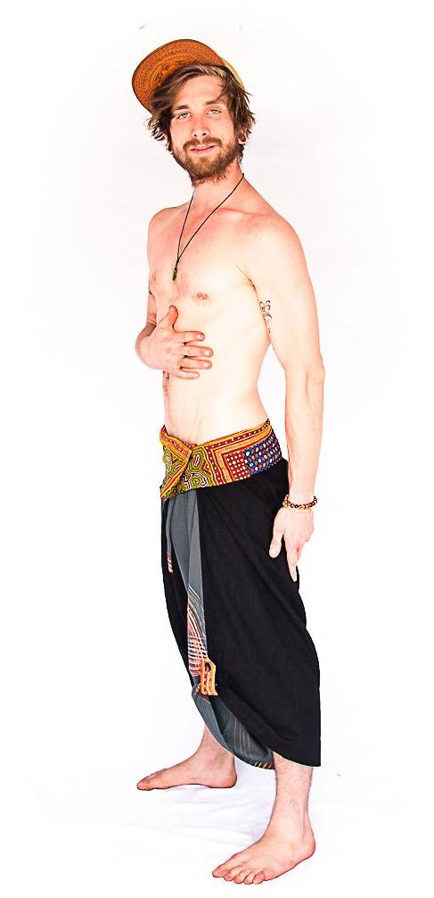 Samurai Fisherman Shorts in Ocean Swirl-The High Thai-The High Thai-Yoga Pants-Harem Pants-Hippie Clothing-San Diego