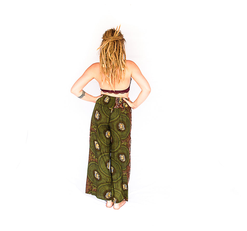 Elephant Design Open Leg Pants in Olive Green-The High Thai-The High Thai-Yoga Pants-Harem Pants-Hippie Clothing-San Diego
