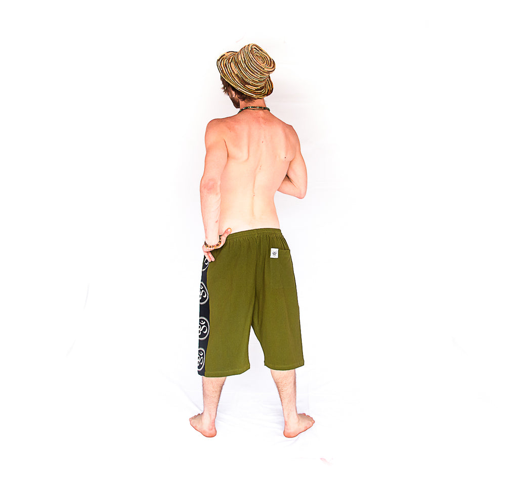 Om Lounge Shorts in Olive Green-The High Thai-The High Thai-Yoga Pants-Harem Pants-Hippie Clothing-San Diego