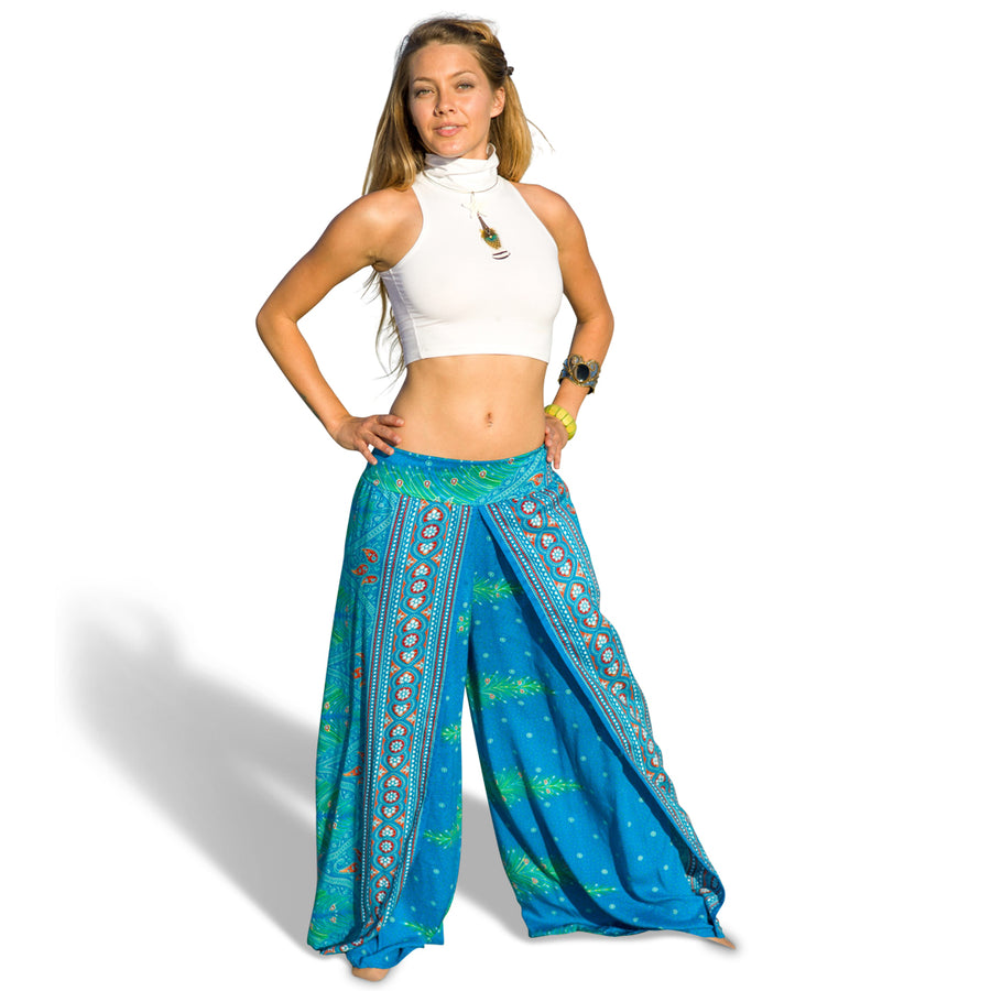 Feather Design Open Leg Pants in Blue-The High Thai-The High Thai-Yoga Pants-Harem Pants-Hippie Clothing-San Diego