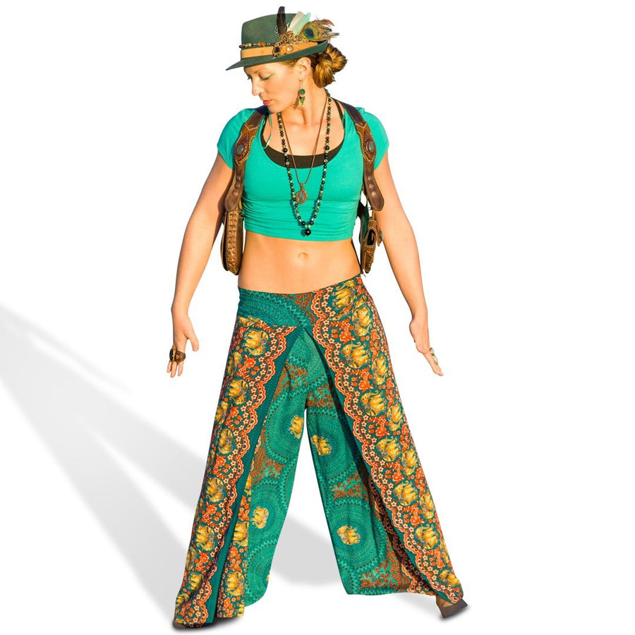 Open Leg Elephant Pants in Turquoise-The High Thai-The High Thai-Yoga Pants-Harem Pants-Hippie Clothing-San Diego