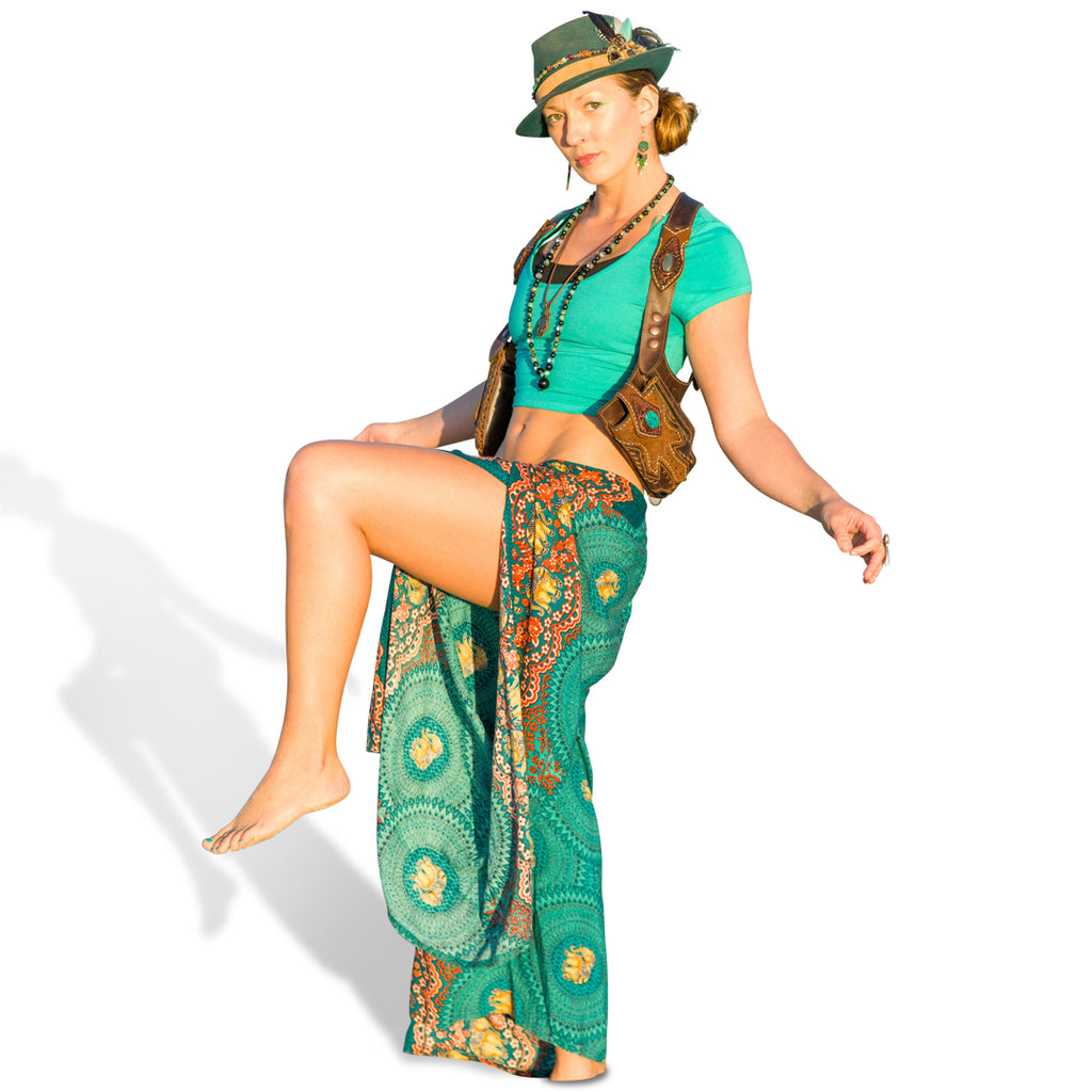 Elephant Design Open Leg Pants in Turquoise-The High Thai-The High Thai-Yoga Pants-Harem Pants-Hippie Clothing-San Diego
