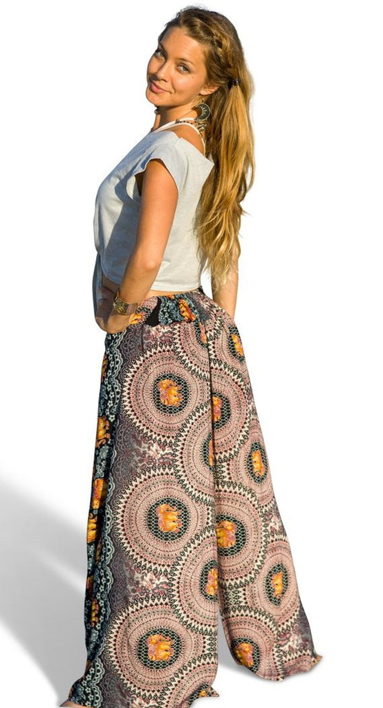 Elephant Design Open Leg Pants in White-The High Thai-The High Thai-Yoga Pants-Harem Pants-Hippie Clothing-San Diego