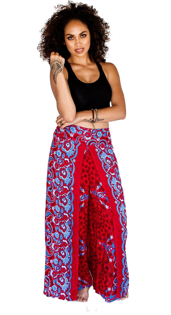 Open Leg Pants in Flower Red-The High Thai-The High Thai-Yoga Pants-Harem Pants-Hippie Clothing-San Diego