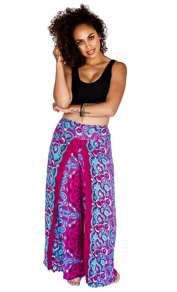 Open Leg Pants in Flower Pink-The High Thai-The High Thai-Yoga Pants-Harem Pants-Hippie Clothing-San Diego