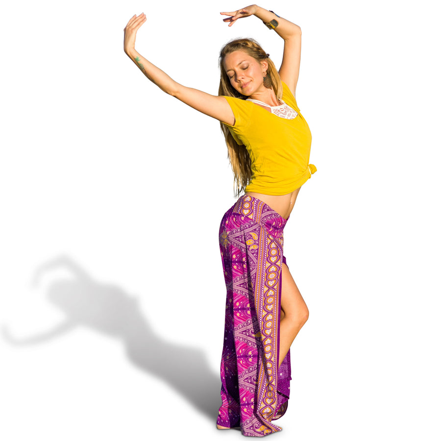 Feather Design Open Leg Pants in Purple-The High Thai-The High Thai-Yoga Pants-Harem Pants-Hippie Clothing-San Diego