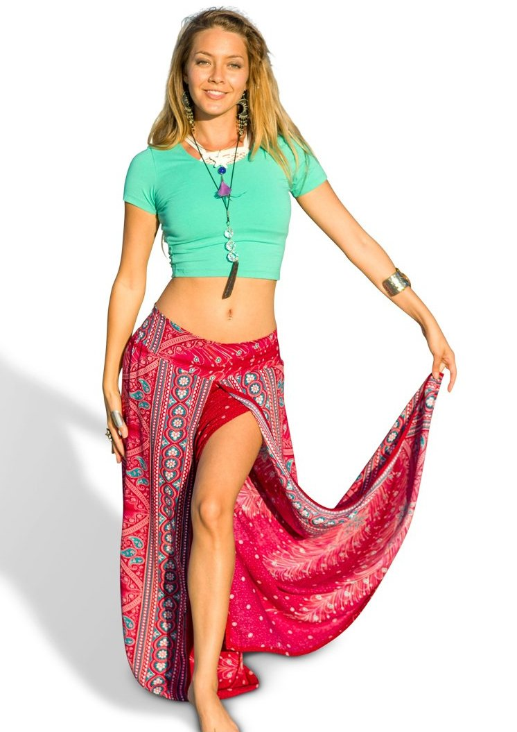 Feather Design Open Leg Pants in Red-The High Thai-The High Thai-Yoga Pants-Harem Pants-Hippie Clothing-San Diego