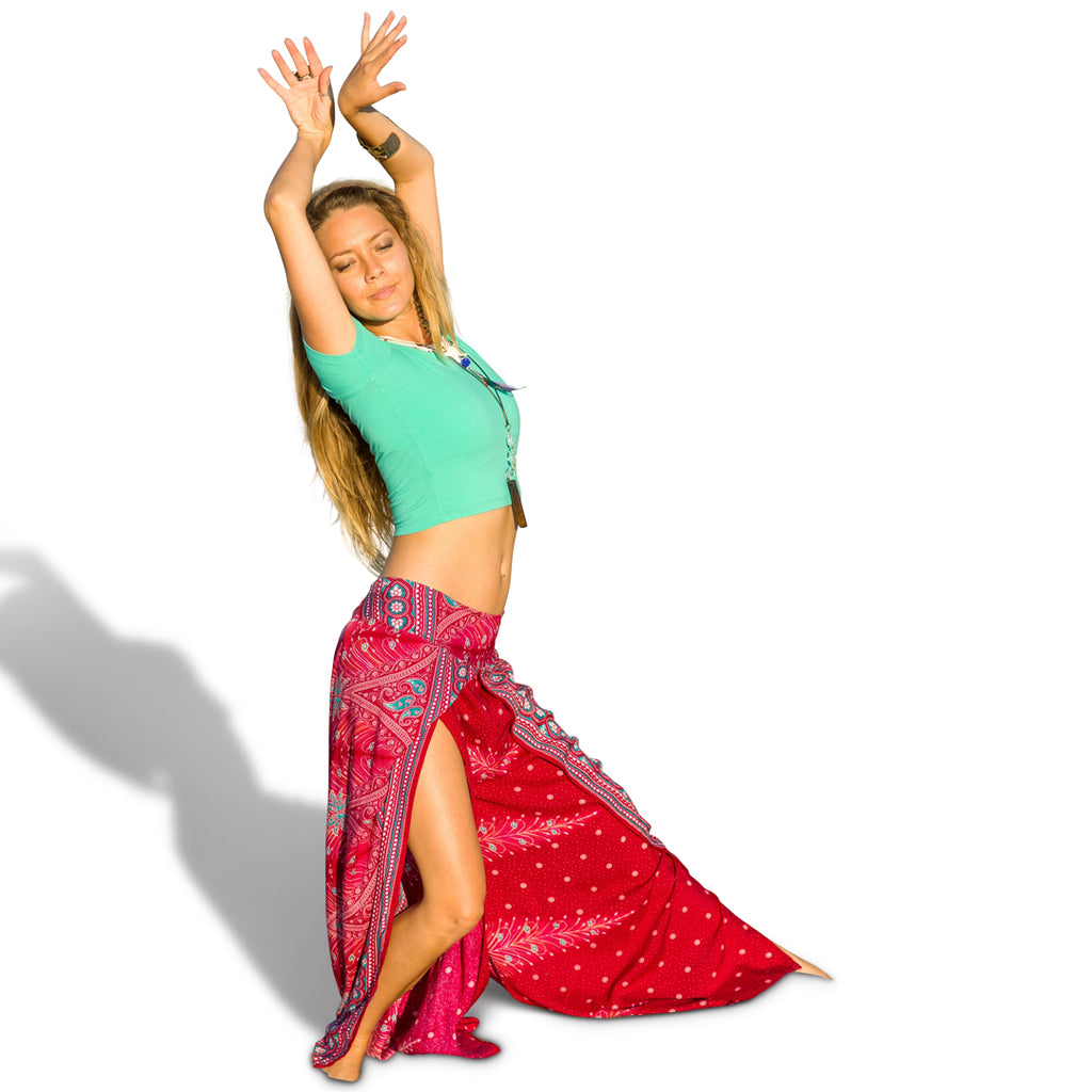 Open Leg Feather Pants in Red-The High Thai-The High Thai-Yoga Pants-Harem Pants-Hippie Clothing-San Diego