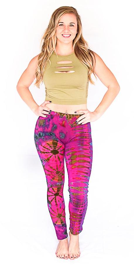 Tie Dye Leggings in Pink-The High Thai-The High Thai-Yoga Pants-Harem Pants-Hippie Clothing-San Diego