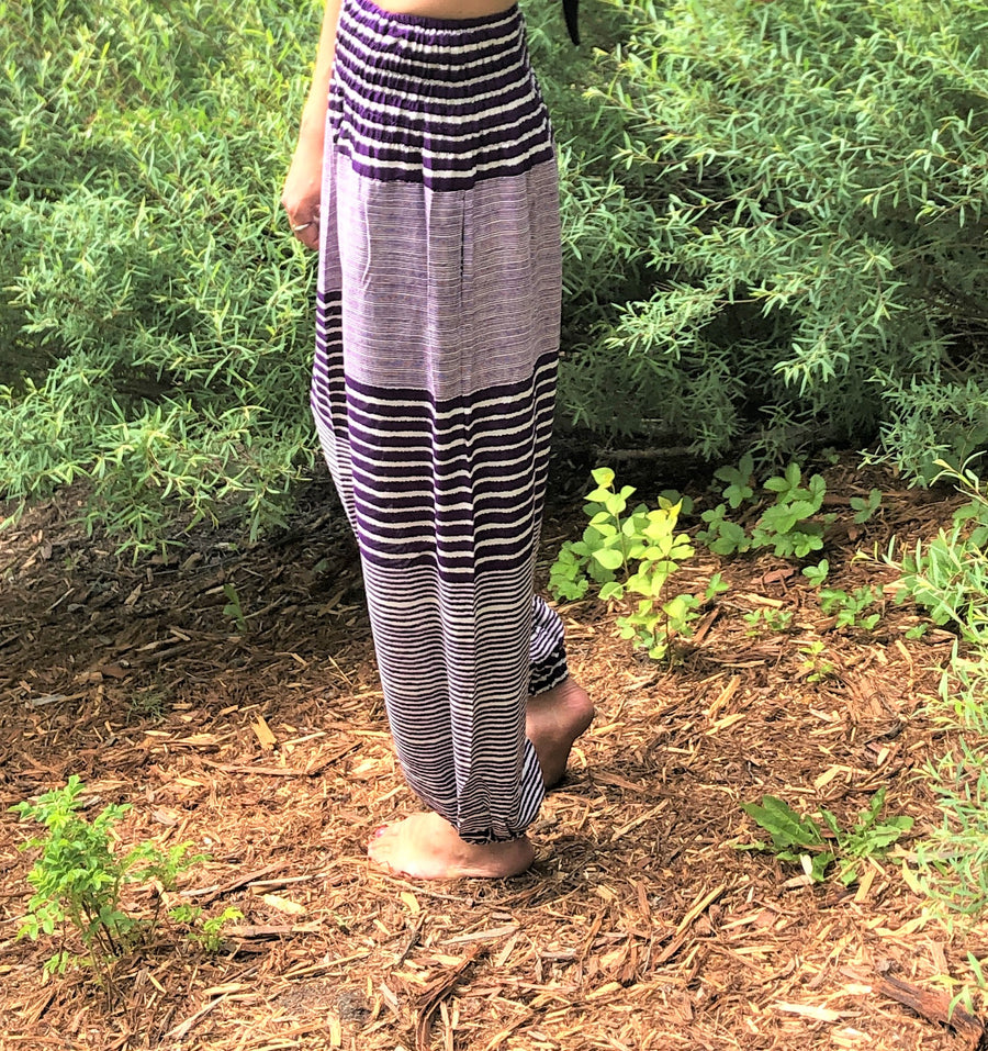 Striped Straight Leg Harem Pants In Purple-The High Thai-The High Thai-Yoga Pants-Harem Pants-Hippie Clothing-San Diego