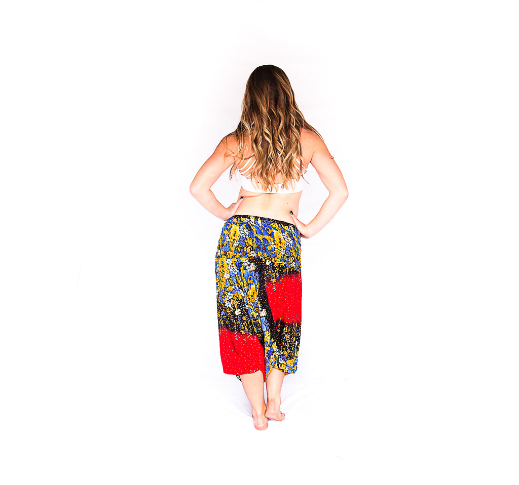One Piece Jumper Pants in Red Flower-The High Thai-The High Thai-Yoga Pants-Harem Pants-Hippie Clothing-San Diego