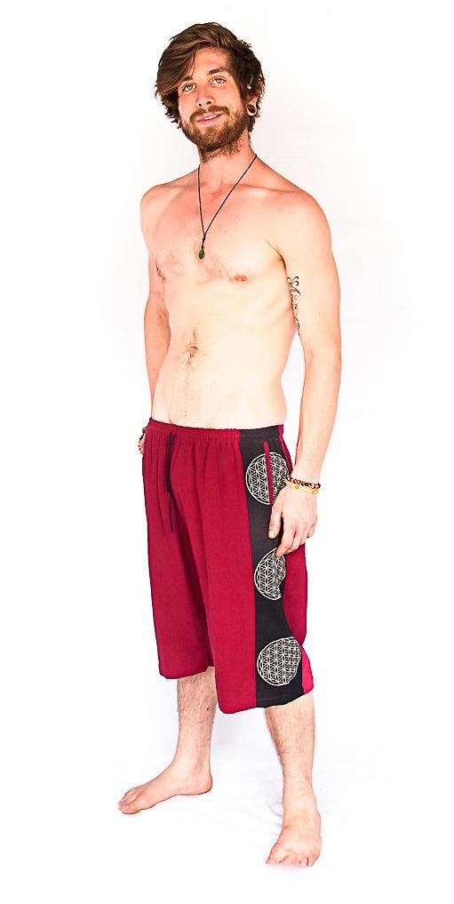 Flower of Life Lounge Shorts in Red-The High Thai-The High Thai-Yoga Pants-Harem Pants-Hippie Clothing-San Diego