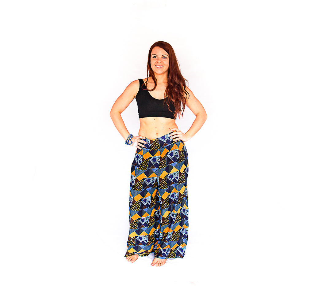 Palazzo Pants in Retro Blue-The High Thai-The High Thai-Yoga Pants-Harem Pants-Hippie Clothing-San Diego