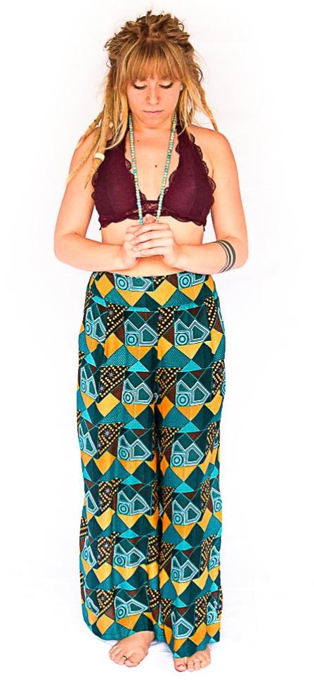 Palazzo Pants in Retro Turquoise-The High Thai-The High Thai-Yoga Pants-Harem Pants-Hippie Clothing-San Diego