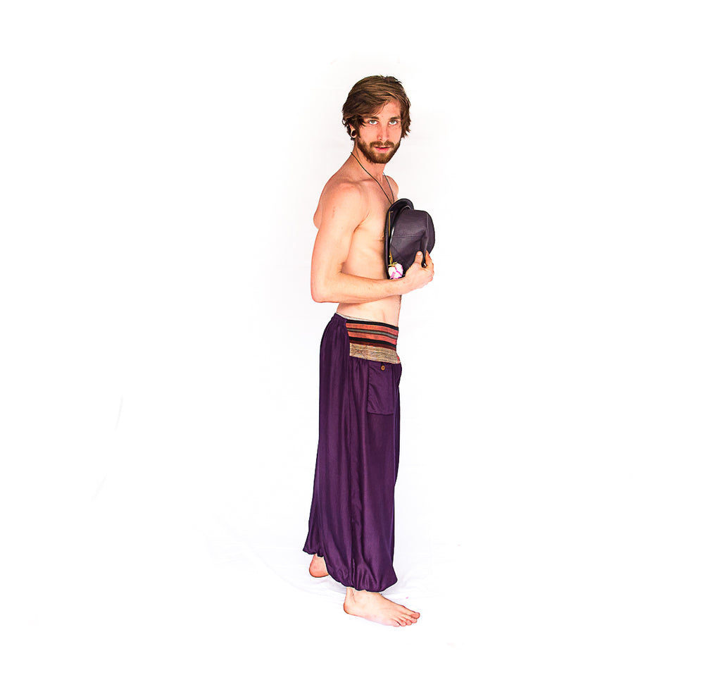 Men's Aladdin Pants in Royal Purple-The High Thai-The High Thai-Yoga Pants-Harem Pants-Hippie Clothing-San Diego