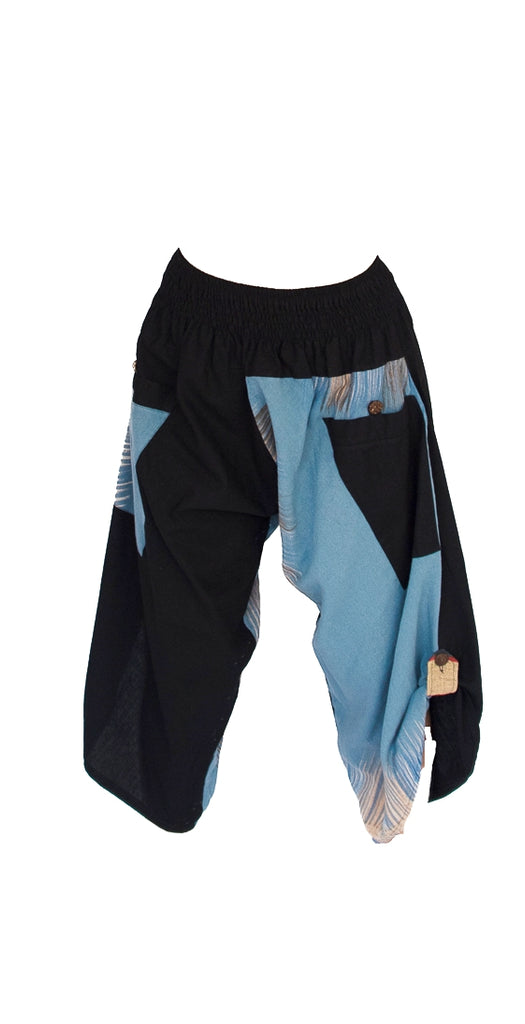 Women's Elastic Samurai Shorts in Sky Blue-The High Thai-The High Thai-Yoga Pants-Harem Pants-Hippie Clothing-San Diego