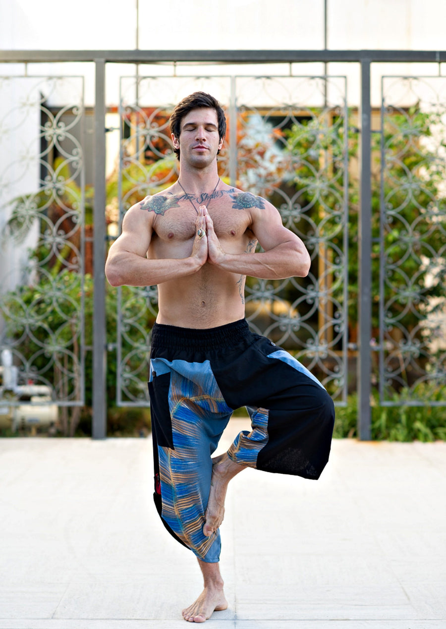Samurai Elastic Shorts in Sky Blue-The High Thai-The High Thai-Yoga Pants-Harem Pants-Hippie Clothing-San Diego