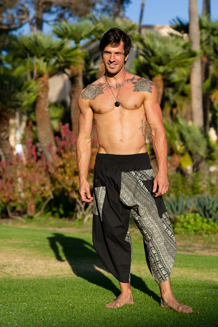 Samurai Elastic Shorts in Black & White-The High Thai-The High Thai-Yoga Pants-Harem Pants-Hippie Clothing-San Diego