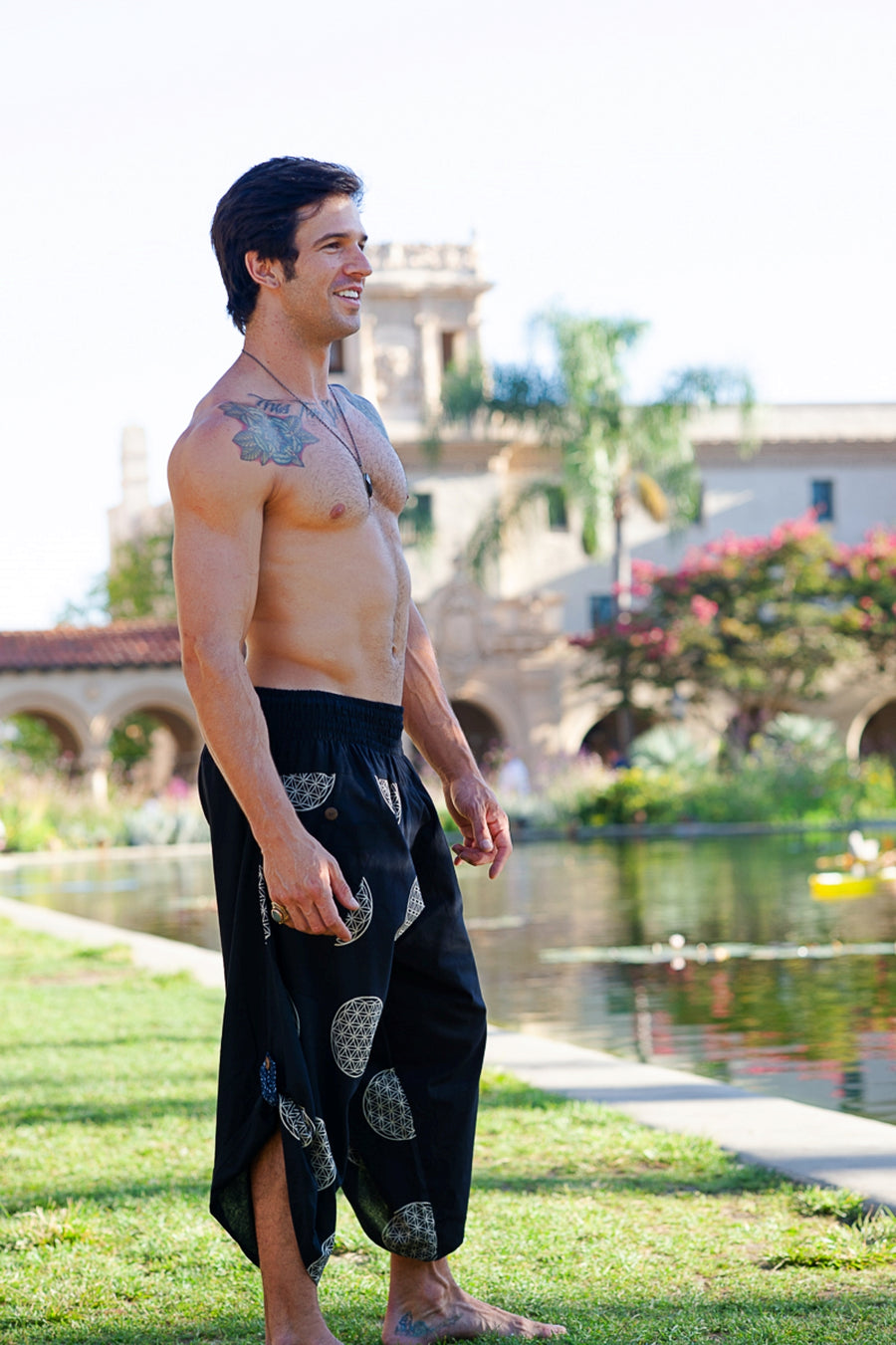 Samurai Elastic Shorts in Sacred Geometry-The High Thai-The High Thai-Yoga Pants-Harem Pants-Hippie Clothing-San Diego