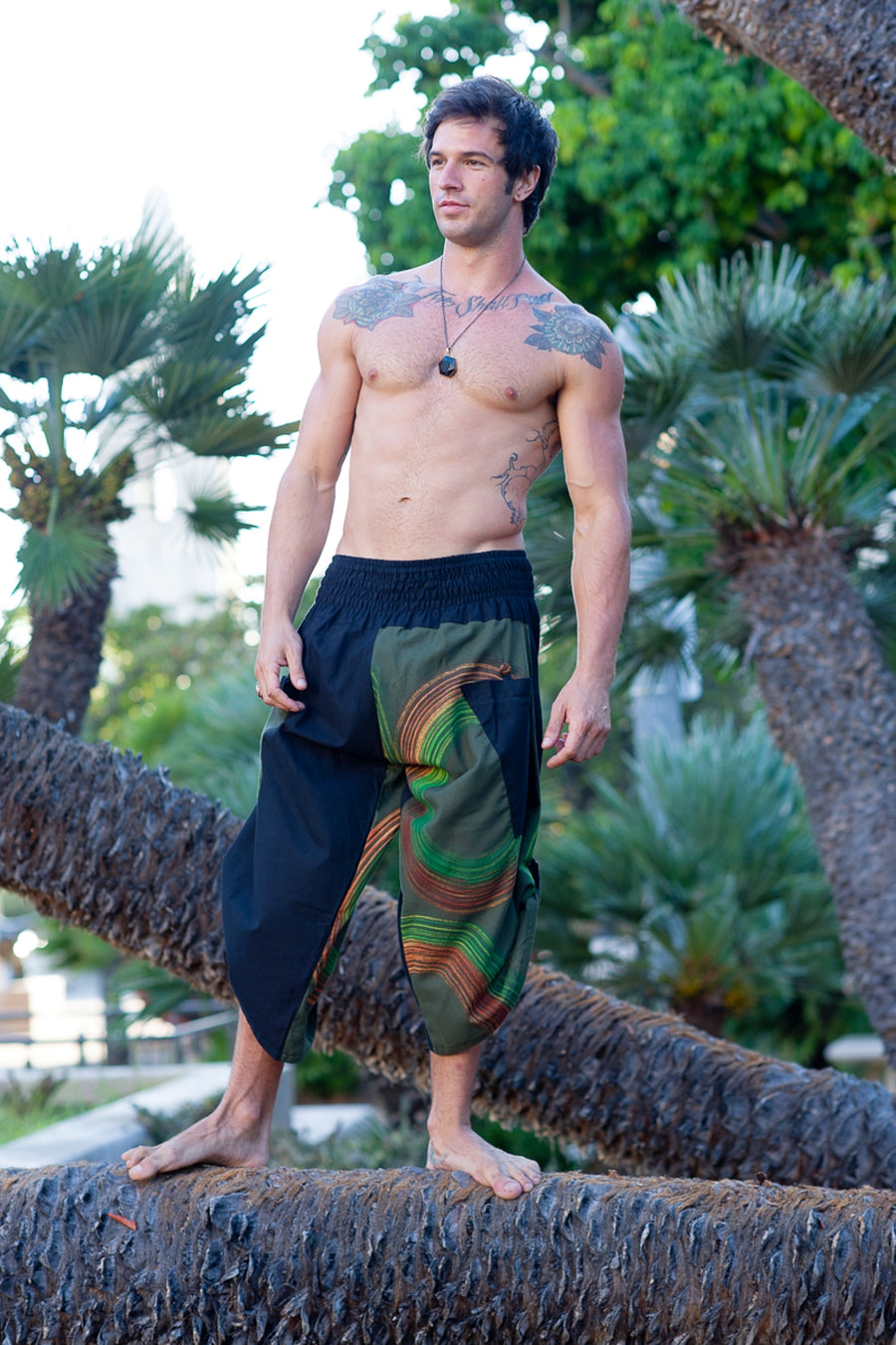 Samurai Elastic Shorts in Forest Swirl-The High Thai-The High Thai-Yoga Pants-Harem Pants-Hippie Clothing-San Diego