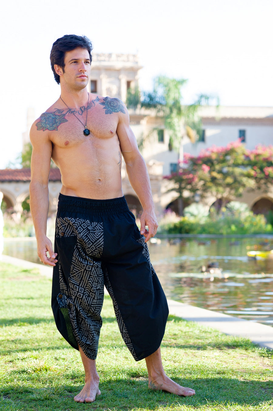 Samurai Elastic Shorts in Grey Swirl-The High Thai-The High Thai-Yoga Pants-Harem Pants-Hippie Clothing-San Diego