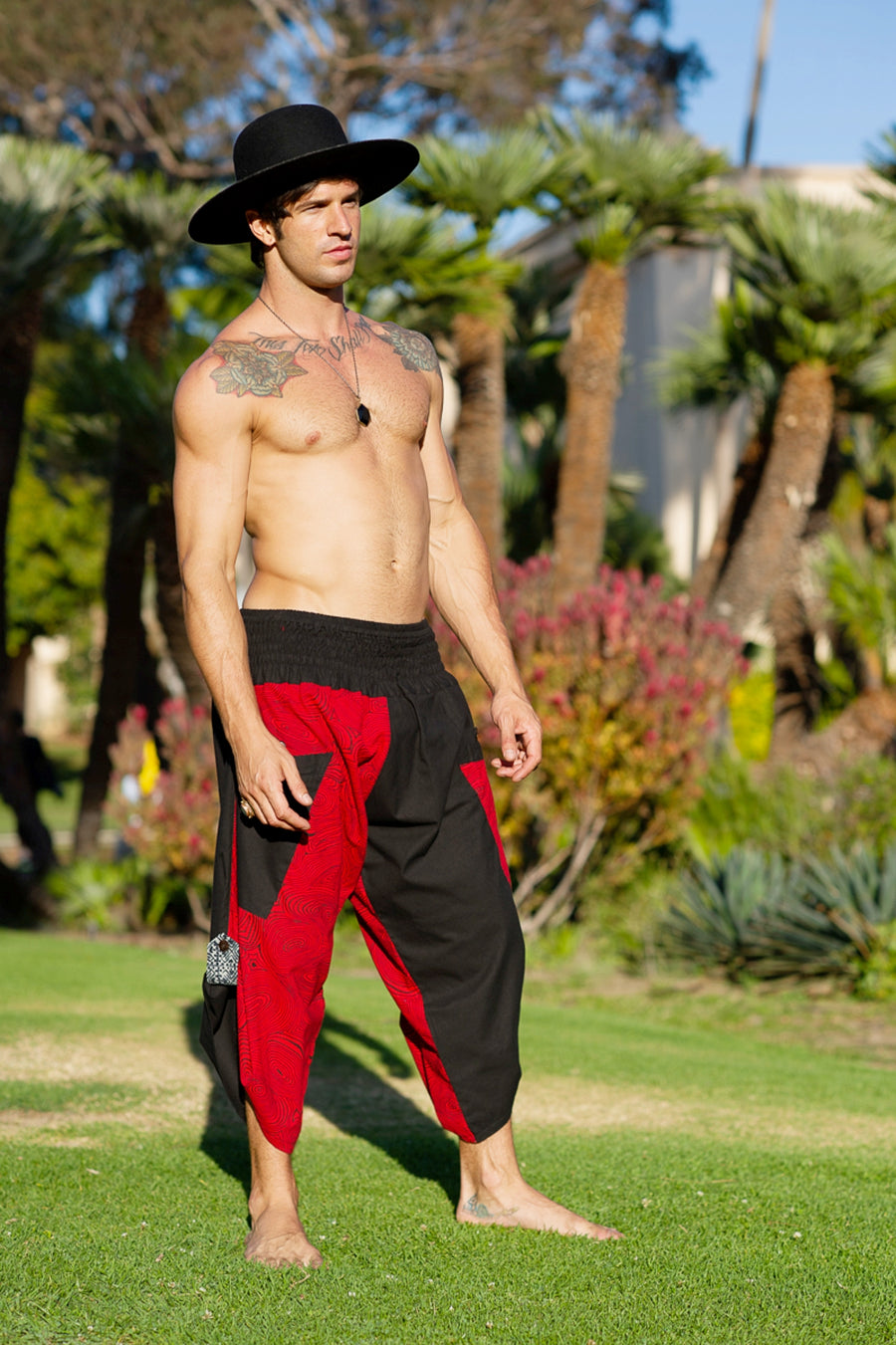 Samurai Elastic Shorts in Red Swirl-The High Thai-The High Thai-Yoga Pants-Harem Pants-Hippie Clothing-San Diego