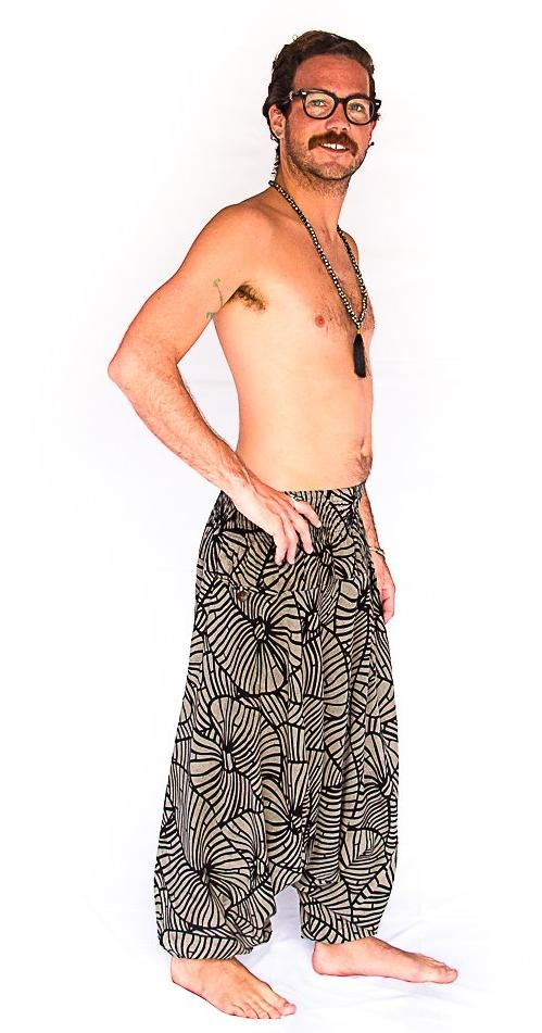 Men's Low Cut Harem Pants in Shattered Glass-The High Thai-The High Thai-Yoga Pants-Harem Pants-Hippie Clothing-San Diego