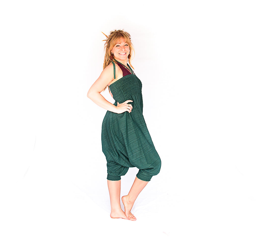 One Piece Jumper Pants in Static Green-The High Thai-The High Thai-Yoga Pants-Harem Pants-Hippie Clothing-San Diego