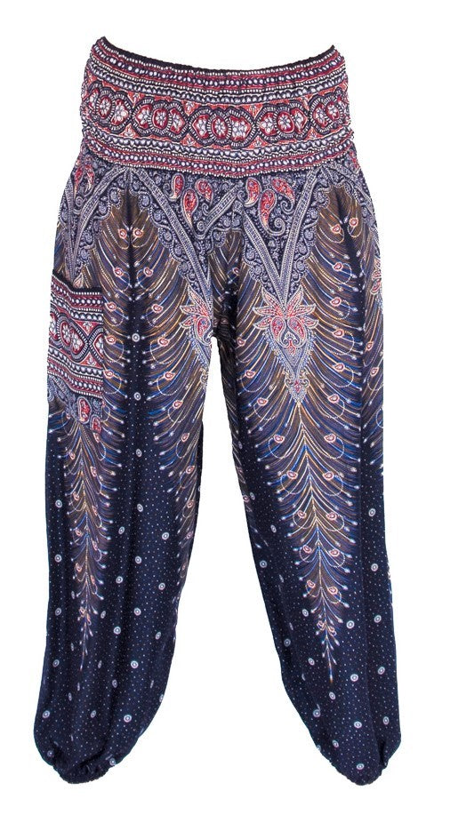 Feather Design Straight Leg Harem Pants in Navy Blue-The High Thai-The High Thai-Yoga Pants-Harem Pants-Hippie Clothing-San Diego