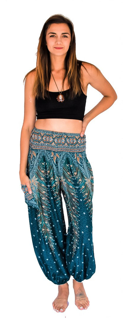 Feather Design Straight Leg Harem Pants in Turquoise-The High Thai-The High Thai-Yoga Pants-Harem Pants-Hippie Clothing-San Diego