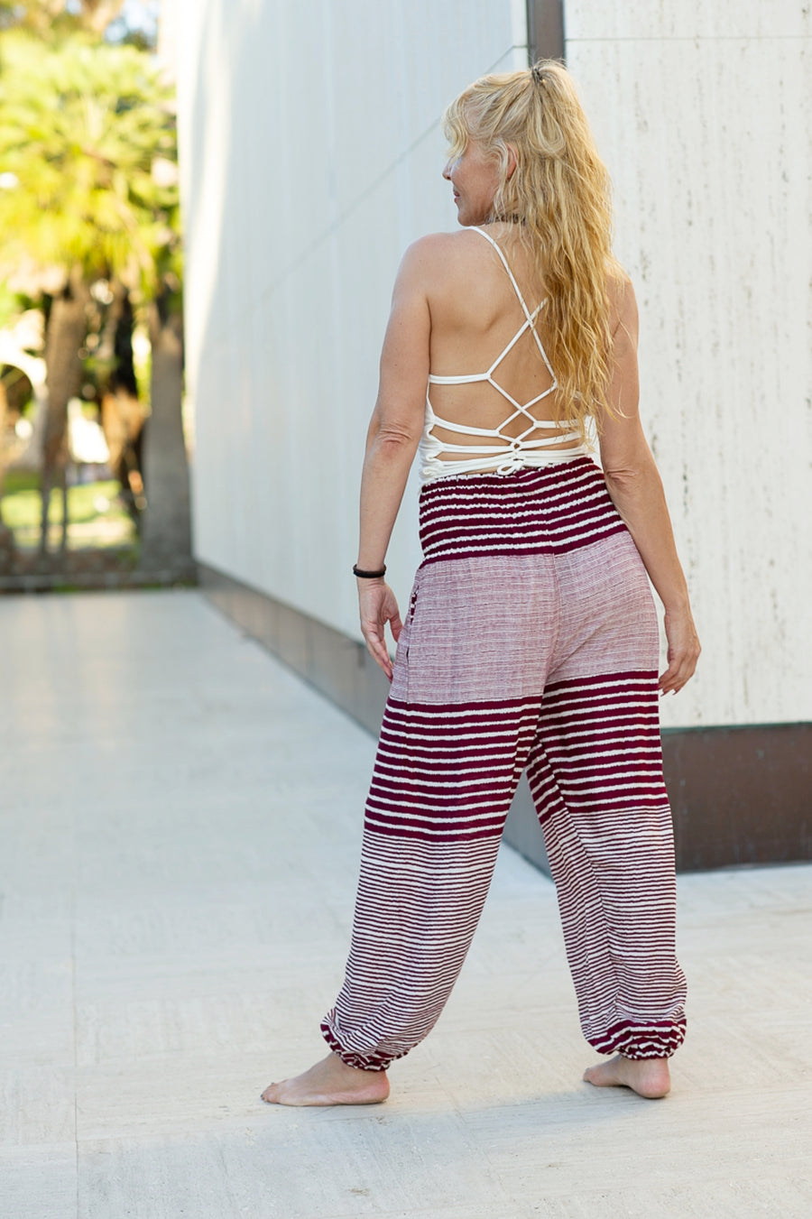 Striped Straight Leg Harem Pants In Red-The High Thai-The High Thai-Yoga Pants-Harem Pants-Hippie Clothing-San Diego
