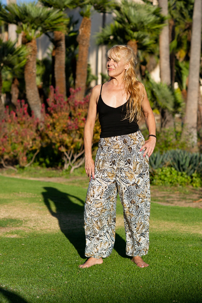 Tiger Print Straight Leg Harem Pants in Gold-The High Thai-The High Thai-Yoga Pants-Harem Pants-Hippie Clothing-San Diego