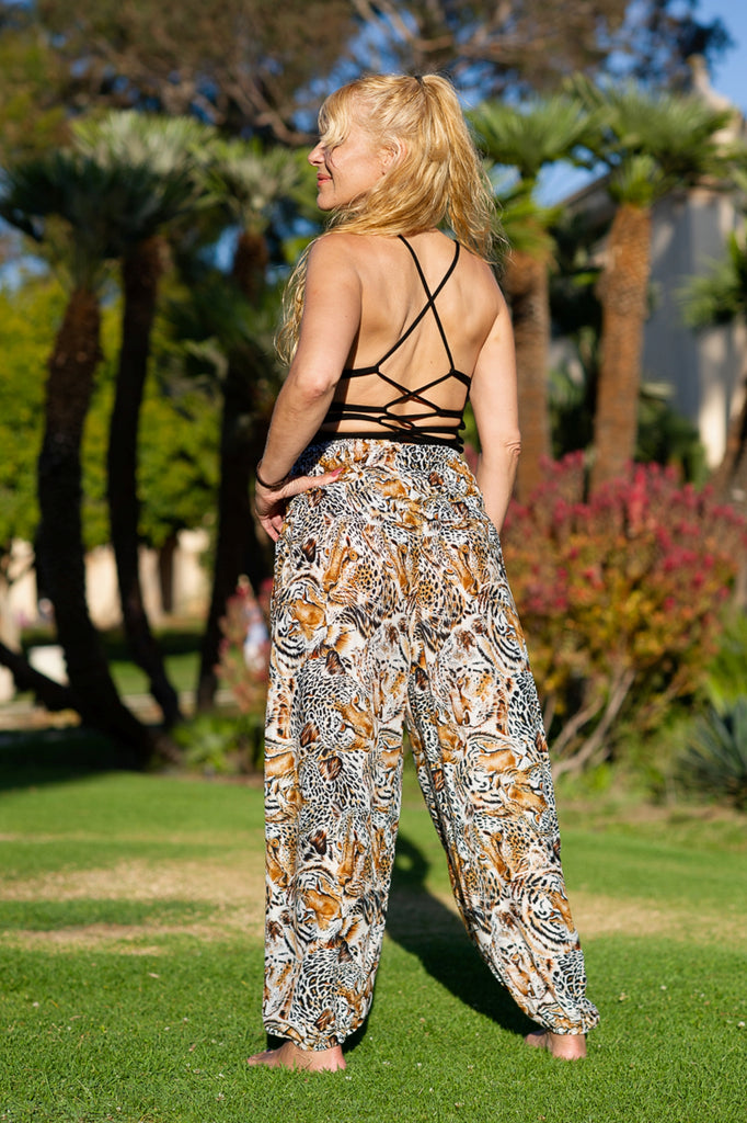 Tiger Print Straight Leg Harem Pants in Orange-The High Thai-The High Thai-Yoga Pants-Harem Pants-Hippie Clothing-San Diego