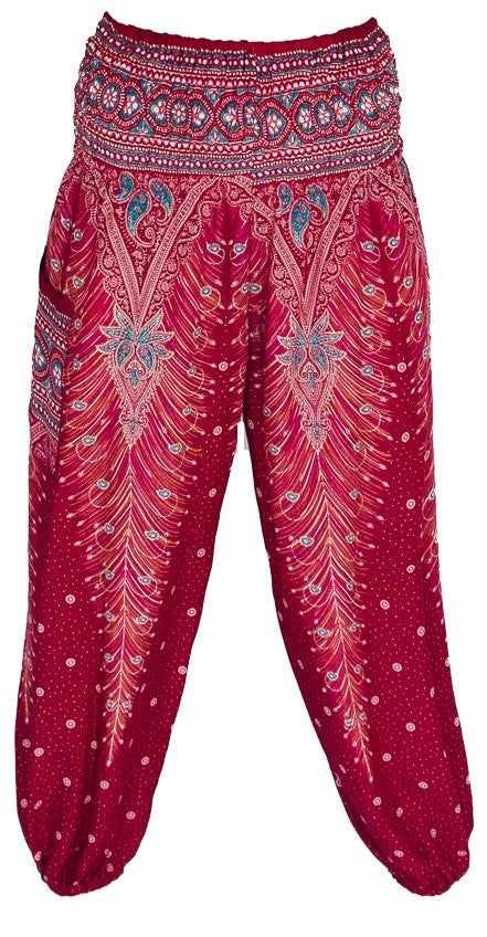 Straight Leg Harem Pants in Red Feather-The High Thai-The High Thai-Yoga Pants-Harem Pants-Hippie Clothing-San Diego
