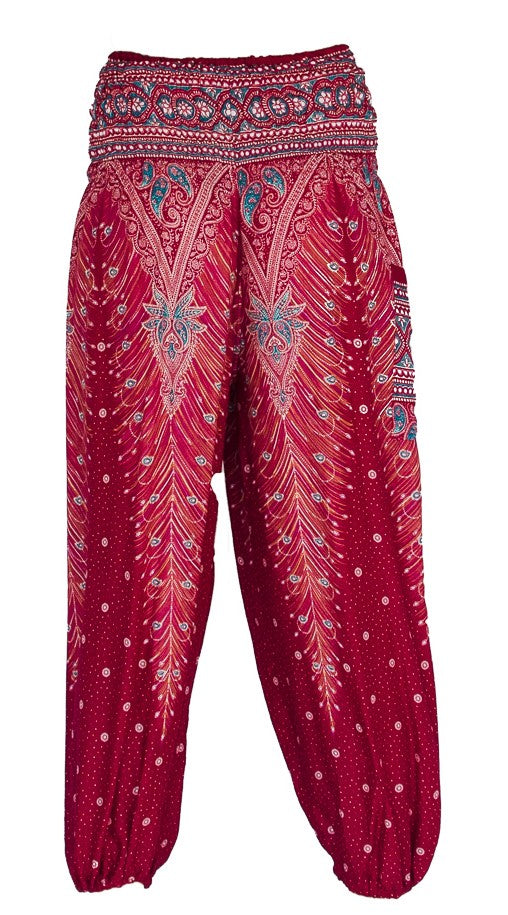 Feather Design Straight Leg Harem Pants in Red-The High Thai-The High Thai-Yoga Pants-Harem Pants-Hippie Clothing-San Diego