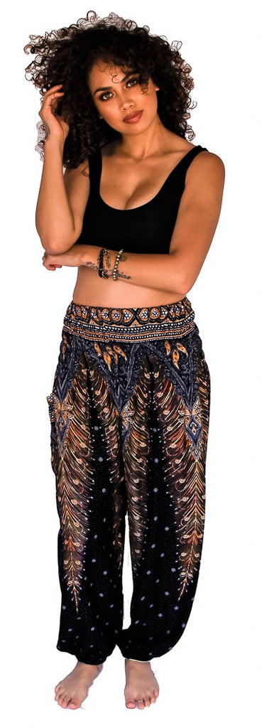 Straight Leg Harem Pants in Black Feather-The High Thai-The High Thai-Yoga Pants-Harem Pants-Hippie Clothing-San Diego
