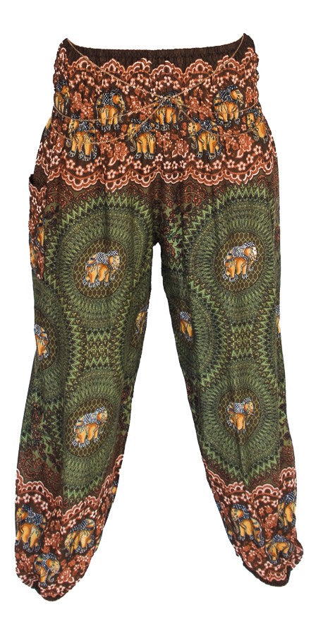 Straight Leg Harem Pants in Green Elephant