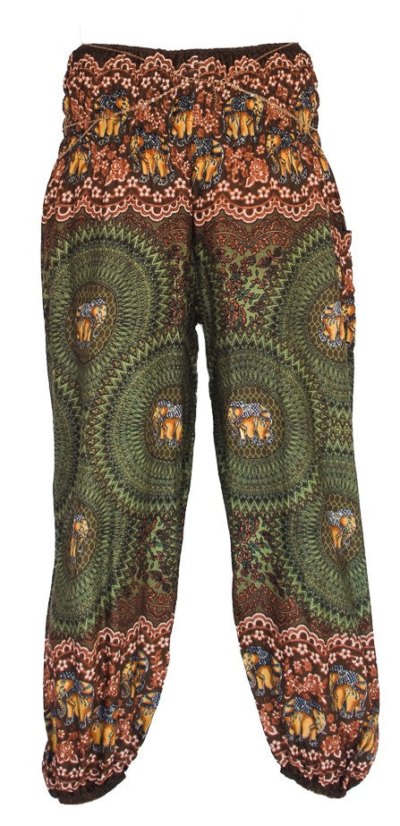 Elephant Design Straight Leg Harem Pants in Green-The High Thai-The High Thai-Yoga Pants-Harem Pants-Hippie Clothing-San Diego
