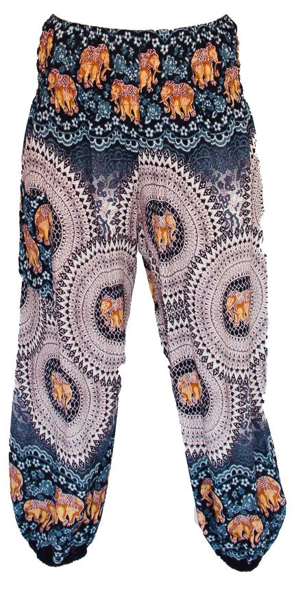 Elephant Design Straight Leg Harem Pants in White-The High Thai-The High Thai-Yoga Pants-Harem Pants-Hippie Clothing-San Diego