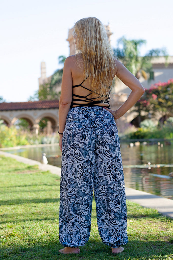 Tiger Print Straight Leg Harem Pants in White-The High Thai-The High Thai-Yoga Pants-Harem Pants-Hippie Clothing-San Diego