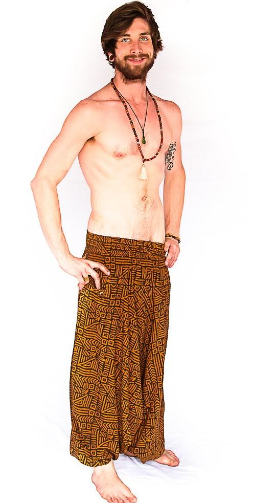 Men's Low Cut Harem Pants in Tribal Brown