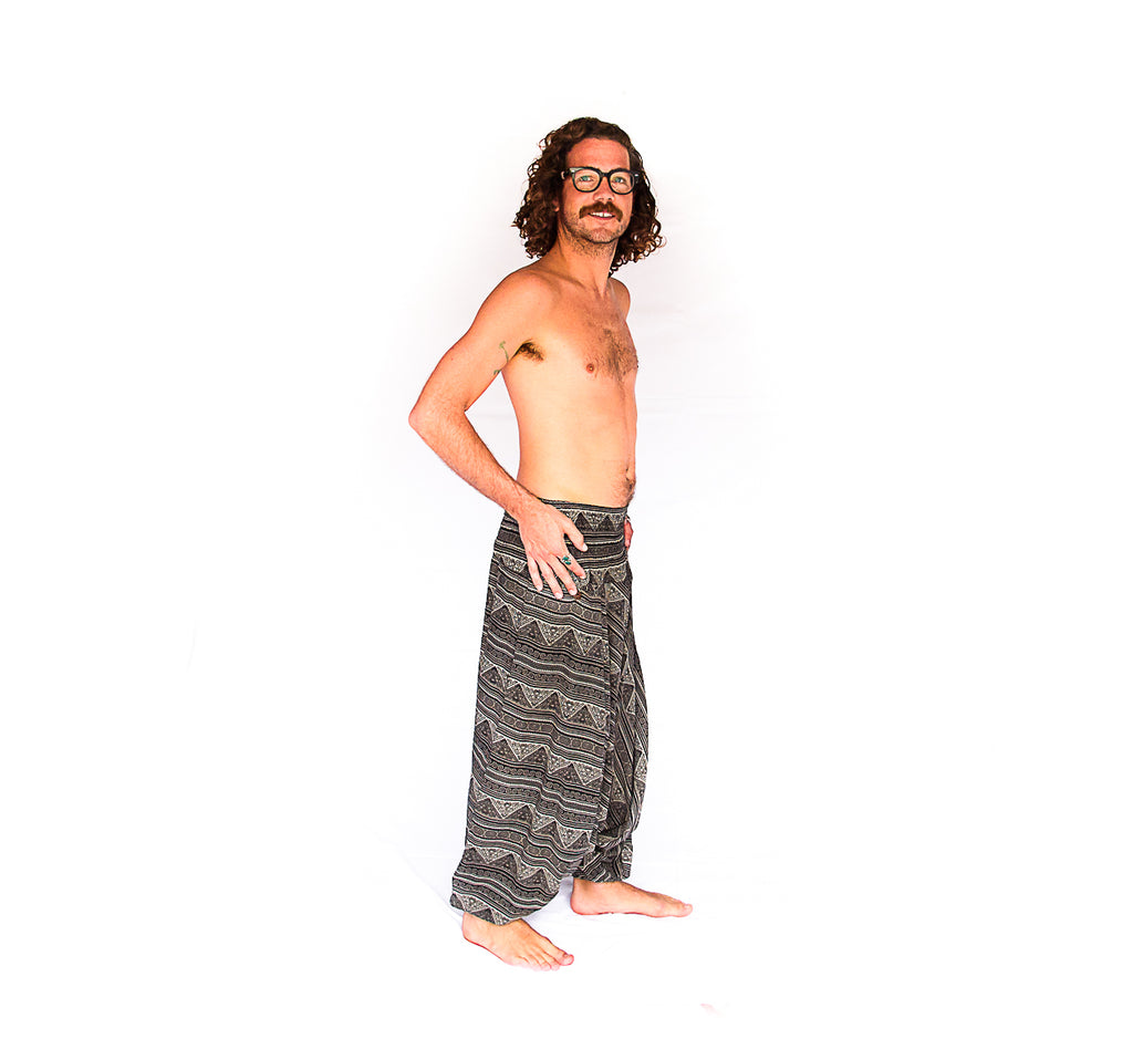 Men's Low Cut Harem Pants in Tribal Grey-The High Thai-The High Thai-Yoga Pants-Harem Pants-Hippie Clothing-San Diego