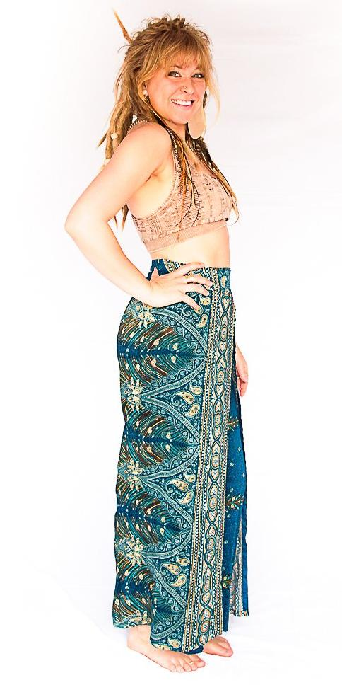 Feather Design Open Leg Pants in Turquoise-The High Thai-The High Thai-Yoga Pants-Harem Pants-Hippie Clothing-San Diego