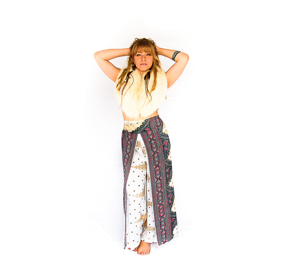 Feather Design Open Leg Pants in White-The High Thai-The High Thai-Yoga Pants-Harem Pants-Hippie Clothing-San Diego