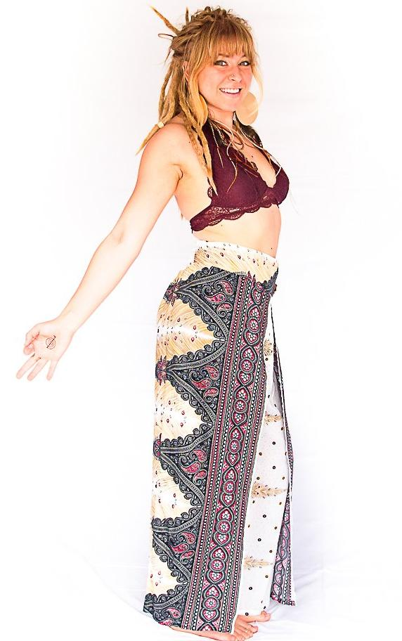 Open Leg Feather Pants in White-The High Thai-The High Thai-Yoga Pants-Harem Pants-Hippie Clothing-San Diego